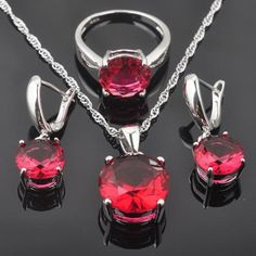 Classic Round Red Ruby Gemstone Silver For Women Jewelry Sets Silver Chain Necklace, Ring Necklace, Sterling Silver Bracelets, Pendant Necklace, Deer Necklace, Nameplate Necklace, Silver Necklaces, Women's Jewelry Sets, Bridal Jewelry Sets