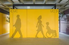 Bright signage with yellow backdrop and contrasting black dotted images. Toilet Signage, Bathroom Signage, Directional Signage, Wayfinding Signs, Environmental Graphic Design, Environmental Graphics, Signage Design, Branding Design, Wc Public