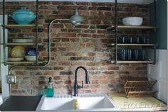 Shelf Ideas Built With Industrial Pipe - For the bathroom or living room?