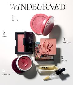 """Windburned: How to fake a perfect winter flush 1. Tarte Amazonian Clay 12-Hour Blush in """"Blissful""""  2. Nars Blush in """"Orgasm""""  3. Benefit Box O'Powders in """"Coralista""""  4. Korres Cheek Butter in """"Chara Crimson"""" 5.LORAC 3D Liquid Lustre in """"Gold Glitter"""""""
