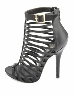 Strappy Caged Lace-Up Heels: Charlotte Russe  Charlotte Russe