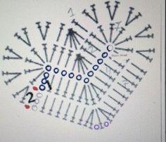 it wp-content uploads 2016 05 cuore-uncinetto-scema. Granny Square Crochet Pattern, Crochet Diagram, Crochet Stitches Patterns, Crochet Chart, Crochet Motif, Crochet Doilies, Crochet Flowers, Gilet Crochet, Crochet Diy