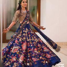 Manish Malhotra Bridal Collection - Royal Blue Skirt And Gold Illusion Top Indian Bridal Outfits, Indian Bridal Fashion, Lehenga Designs, Pakistani Dresses, Indian Dresses, Western Dresses, Indian Sarees, Manish Malhotra Bridal Collection, Indian Reception Outfit