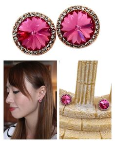 """Little noble pink crystal golden rim earrings"" by oceanfashion on Polyvore"