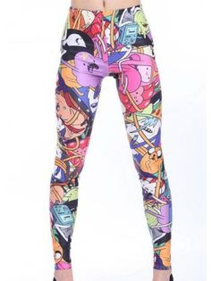 Cute Middle Waist Cartoon Pattern Leggings for Woman