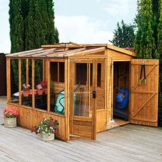 now it'd be NICE if I could take this design, cut it longways and attach it to the side of the house... then I'd gain a greenhouse AND a shed. My yard is too small to build something like this as is though.