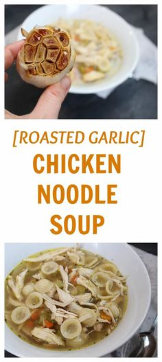 Beat the winter blues or fight off a winter cold with this simple recipe for roasted garlic chicken noodle soup. Slow Cooker Recipes, Soup Recipes, Chicken Recipes, Cooking Recipes, Freezer Cooking, Ww Recipes, Freezer Meals, Crockpot Recipes