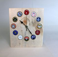 Hand Made Beer Bottle Top Clock by Tom Thumb by TomThumbDesigns
