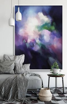 White, purple and magenta abstract art