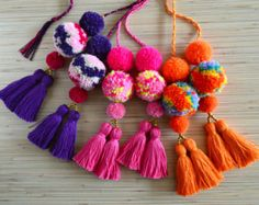 Pom pom bag charm Tassel bag charm Neon pink tassel bag charm Bag accessories Boho accessories Handbag charm Pom pom purse charm More colors available at https://www.etsy.com/listing/290301701/pom-pom-bag-charm-tassel-bag-charm-neon?ref=shop_home_feat_1 Colorful bag charm made of hand crafted pom poms and tassels. Perfect for summer and beach bags. One size. Length without a loop: approx. 8.6 inches / 22 cm ♥ Heartmade item ♥ All my products come in a n...