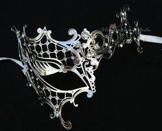 Silver Black Masquerade mask- Luxury Venetian Filigree Laser Cut Half face Phantom Mask for Women on Etsy, $42.95