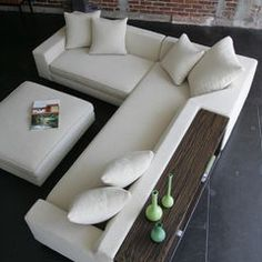 White sofa design - Shea Sectional with Console and Ottoman - modern - sectional sofas - los angeles - VIOSKI Sofa Set Designs, Modern Sofa Designs, Leather Sectional Sofas, Modern Sectional, Modern Couch, Couch Sofa, Modern Sofa Sets, White Sectional, Modern Ottoman