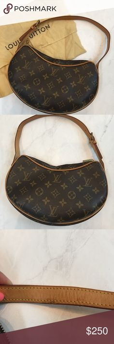 Louis Vuitton Monogram Croissant PM It's in an excellent condition. Minimum patina on strap, but my puppy chewed one side as shown in picture above. However all stitching is still intact.  This was my very first LV. ❤️❤️ it was purchased in Florence, Italy in 2009. So I preserved this in a pristine condition impeccably. Lol 💁🏼♀️ Louis Vuitton Bags Shoulder Bags