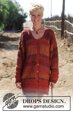 DROPS Jacket in double Muskat with stripe pattern  Free pattern by DROPS Design.