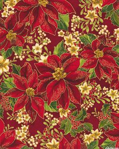 Holiday Flourish 8 - Poinsettia Gems - Lacquer Red/Gold