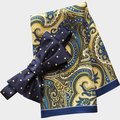 Tommy Hilfiger Blue and Yellow Dot Tie and Paisley Pocket Square Set - Bow Ties | Men's Wearhouse