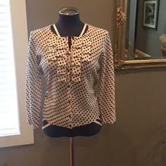 J. Crew merino embellished cardigan NWOT. 100% merino wool J. Crew 3/4 sleeve cardigan. Black polka dot on off white ground. Front loop detail is embellished with black sequins. J. Crew Sweaters Cardigans