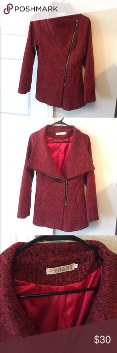 🔥 RED & BLACK WINTER COAT 🔥❤️🎉🎊 In Excellent condition. I ordered it online ( Medium) but it fits (Small ) .                                                              - Wool coat with red satin inside.                                                                     - Perfect to wear with jeans and boots 😍👌🏽.                    -  Will keep you warm for fall & winter. Jackets & Coats Trench Coats