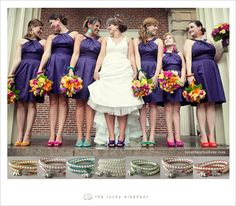 I love the idea of different color shoes on the bridesmaids....and jewel tones are so pretty!