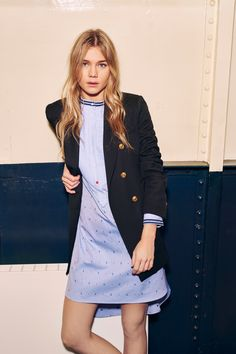 Navy Double Breasted Coat Paired with a Blue and White Striped Dress by Tommy Hilfiger Pre-Fall 2016 Fashion Show