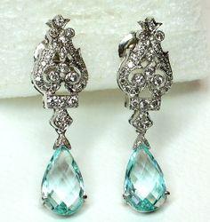 Aqua Blue Beautiful Diamond Earrings