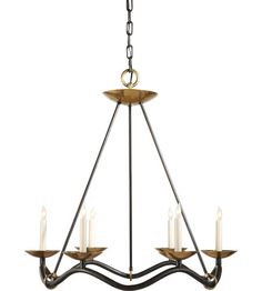 Visual Comfort Studio Choros 6 Light Chandelier in Aged Iron with Wax S5040AI #visualcomfort #lightingnewyork #lighting