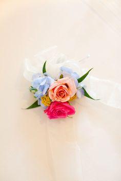 Simple tie on wrist corsage. #bluehydrangea #pinksprayrose #yellowyarrow #corsage