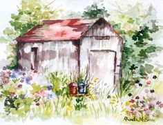 Springtime Barn Watercolor Print, Vintage Barn, Rustic Barn, Barn with Flowers, Old Barn, Cottage Chic, Rustic Design, Spring Flowers, Gift by FantasyinWatercolor on Etsy