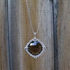 Cushion Cut Smoky Quartz and CZ Silver statement necklace, semiprecious, gemstone necklace Elle Taylor, Cushion Cut, Smoky Quartz, Pendant Necklace, Trending Outfits, Unique Jewelry, Handmade Gifts, Silver, Vintage
