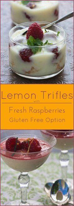 Easy Lemon Trifles with Angel Food Cake and Fresh Raspberries. Gluten free option too!
