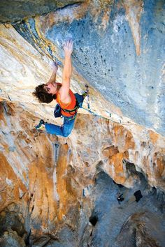 """Joe Kinder exiting the crux on 'Golden' 14b at """"The Cathedral,"""" near St. George Utah"""