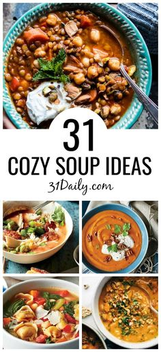 Fall and Winter Cozy Soup Recipes and Ideas - 31 Daily When the chilly weather sets in, there's nothing more hearty then a warm bowl of soup. These soup recipes will warm you to your toes! 31 Fall and Winter Cozy Soup Recipes and Ideas Winter Snacks, Winter Food, Fall Winter, Winter Meals, Fall Soup Recipes, Dinner Recipes, Best Winter Soups, Christmas Soup, Winter Dishes