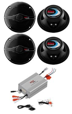 This Marine Boat Car Speakers features a 150 Watt Max each pair, Poly injection cone material, 4 ohm impedance and comes with a plastic grills.  The Pyle PLMRMP4A is a marine-ready, four-channel power amplifier pushing up to 800 watts, a waterproof poly bag, and a waterproof stereo 3.5mm-to-RCA adaptor for plugging in virtually any audio source, including your iPod or other MP3 player. The included wired volume control easily mounts to your vehicle's dashboard