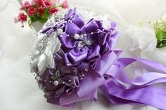Incredible Beautiful Romantic Beige Wedding Bouquet Purple Flower with Pearls And Diamond Luxury Artifical Bride Bridal Bouquets ZC from Engerlaa,$118.31 | DHgate.com
