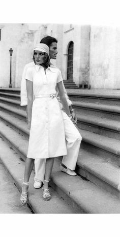 Rene Russo – Convent of San Francisco, in the town of Arequipa, Peru wearing a white cotton knit polo shirt with a button-front white twill skirt, by Donna Karan for Anne Klein, with white ha…