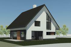 Mooi: witte stuc, zwart, hout detail, rand dak Facade House, House Rooms, Future House, Bungalow, Building A House, Architecture Design, House Plans, New Homes, House Design