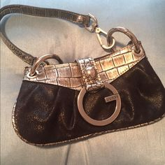 Guess mini bag Black and silver, in good condition. Guess Bags Mini Bags