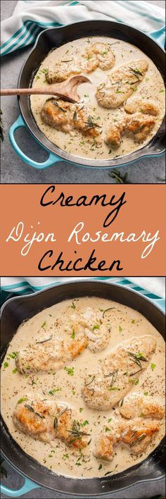 Dijon Rosemary Chicken Tender chicken breast in a creamy Dijon rosemary sauce = an easy to make fall comfort food dinner you'll devour.Tender chicken breast in a creamy Dijon rosemary sauce = an easy to make fall comfort food dinner you'll devour. Frango Chicken, Rosemary Chicken, Dijon Chicken, Baked Chicken, Creamy Honey Mustard Chicken, Boneless Chicken, Good Food, Yummy Food, Tasty