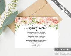 Peach and Cream Wishing Well Card. Wedding Wishing Well Card Template. Printable Wishing Well Card. Floral Wishing Well. Download Editable http://etsy.me/2AQcdS7 #everythingelse #graphicdesign #pink #wedding #orange #peach #cream #peachandcream #wishing