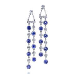 Tiffany Jazz™ double drop earrings with sapphires and diamonds in platinum.