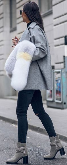 Faux Fur Scarf Fall Street Style Inspo by Johanna Olsson