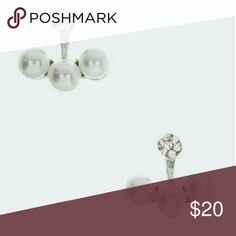 "WHITE SIMULATED PEARL BAR CRYSTAL STUD EARRINGS White simulated pearl bar and crystal stud earrings.  0.6"" drop. Lead and nickel compliant. Jewelry Earrings"