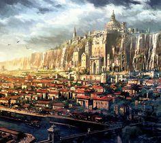 castle over city Fantasy City, Fantasy Castle, Fantasy Places, Fantasy Map, High Fantasy, Medieval Fantasy, Fantasy World, Fantasy Art Landscapes, Fantasy Landscape
