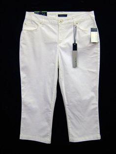 85f23654ca31 Bandolino Jeans Mandie Capri Crop Pants Women Size 8 White Stretch New  #BandolinoJeans #Capris