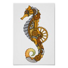 Seahorse Drawing, Seahorse Tattoo, Seahorse Art, Seahorses, Octopus Painting, Rock Painting, Steampunk Machines, Steampunk Animals, Steampunk Cat