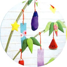 Star festival Bamboo decoration-chirimen zaiku