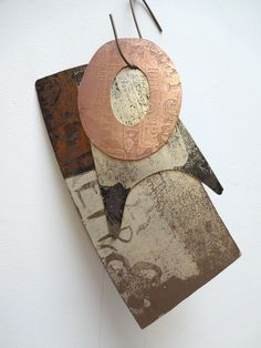 Metal Wall Art 'Tinsmith Templates' series. Metal Wall Piece Artist: Rebecca Gouldson Copper, Brass, Patina, Silver electroplating.
