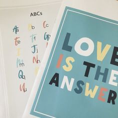 Alphabet and Quote poster decal. Love is the answer. Quote Posters, Alphabet, Decals, Education, Love, Girls, Fabric, Quotes, Amor