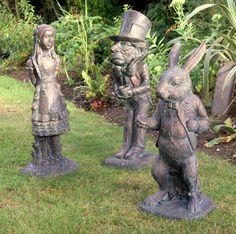 Alice in Wonderland Collection of 3 Bronze Garden Ornaments. -Garden Ornaments-
