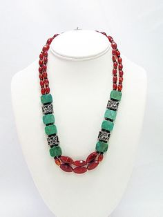 Carnelian and Turquoise Necklace with Earrings   by daksdesigns